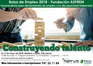 Construyendo talento: 8 y 9 de mayo, convocatoria para desempleados con discapacidad intelectual
