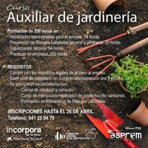 Curso de Auxiliar de jardinería. INSCRIPCIONES HASTA EL 26 DE ABRIL